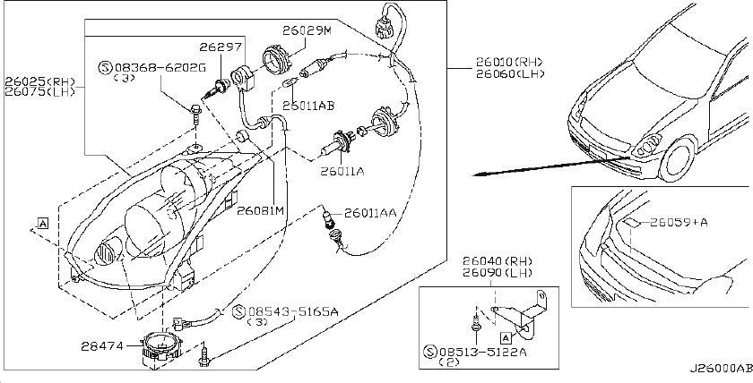 INFINITI G35 Headlight (Left). System, HEADLAMP