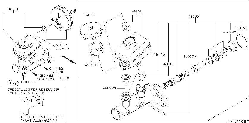 INFINITI G35 Brake Master Cylinder Reservoir Cap (Rear