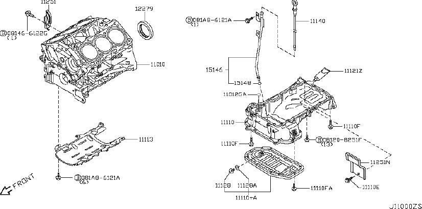 INFINITI G35 Engine Crankshaft Main Bearing Cap Bolt. VGÇ