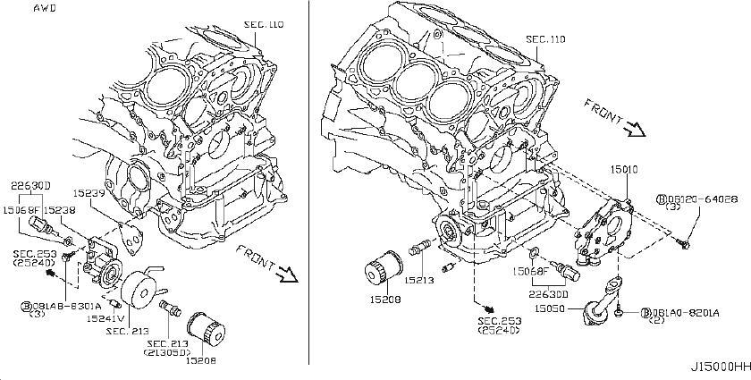 INFINITI G35 Engine Oil Filter Adapter. COOLER, AWD