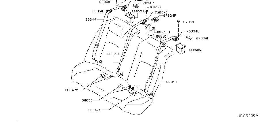 INFINITI G37 Seat Belt Lap and Shoulder Belt (Rear). Trim