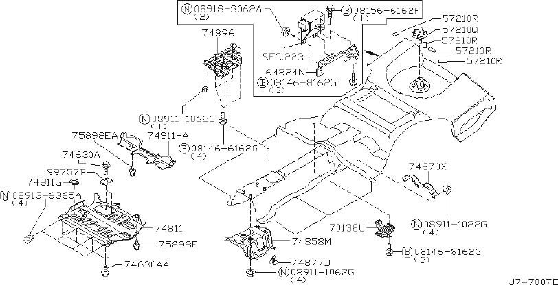 INFINITI M45 Radiator Support Splash Shield (Lower