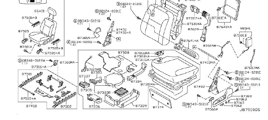 INFINITI M45 Seat Back Panel Clip. BACKBOARD, RBAGS, LEG