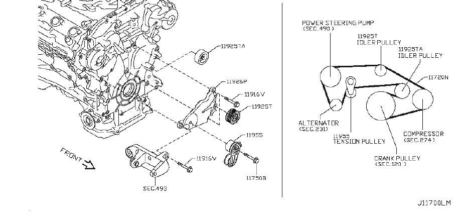 INFINITI M35 Serpentine Belt. COMPRESSOR, STEERING, POWER
