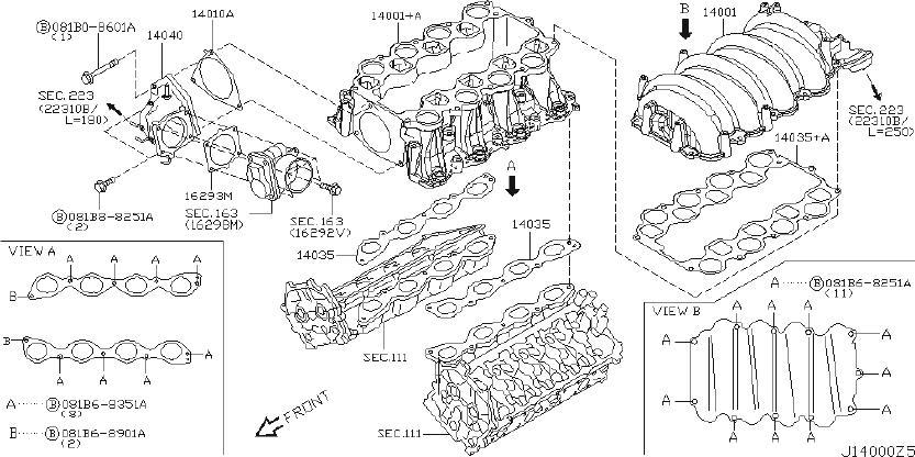 INFINITI M45 Air Crossover Gasket. Gasket Intake Manifold