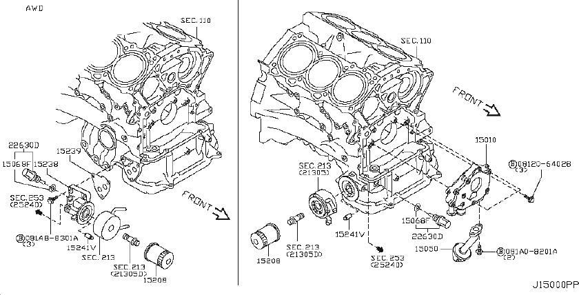 INFINITI M35 Engine Oil Filter Adapter Gasket. COOLER, AWD