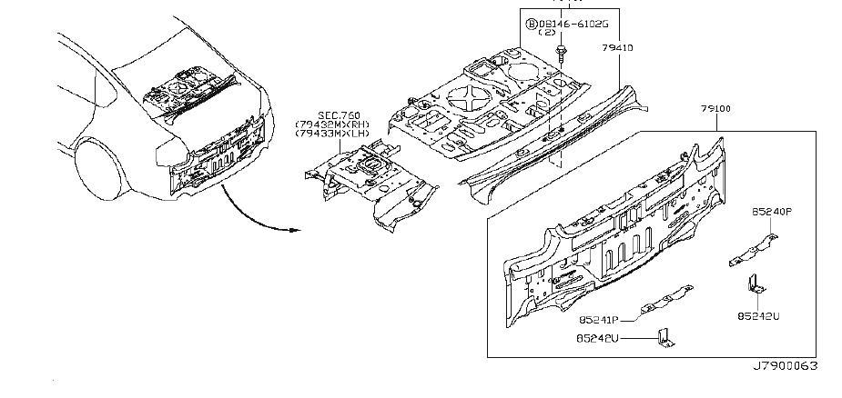 INFINITI M35 Rear Body Panel (Rear). Trim, Interior