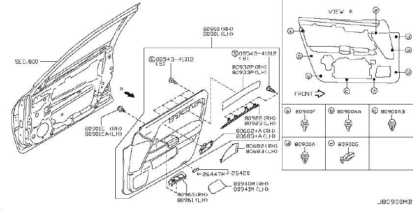 INFINITI M45 Mask DO0R Grip. Plate Door. (Left, Front