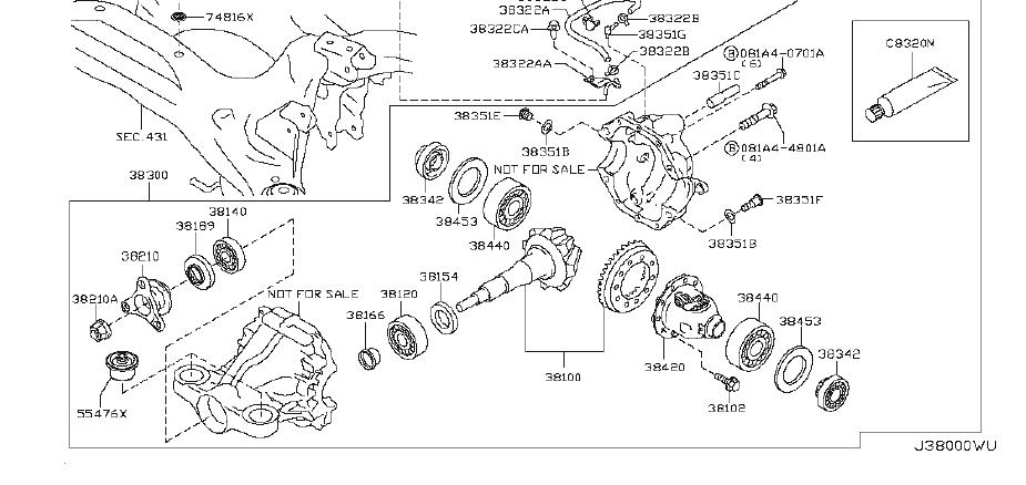 INFINITI M37 Differential Carrier Bearing Shim. SELECT