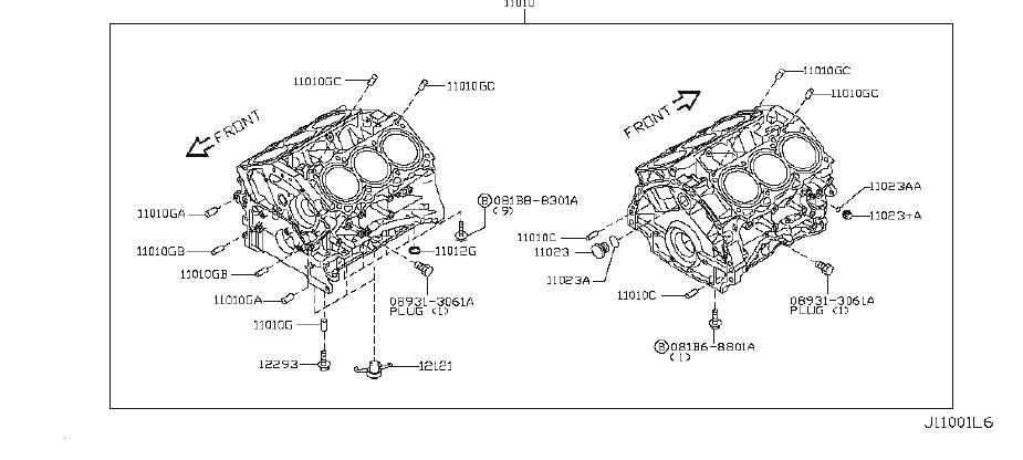 INFINITI M56 Cylinder Block. ASSEMBLY, COMPONENT, AWD