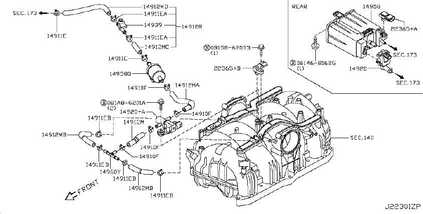 INFINITI M37 Tank Vacuum. Valve Vacuum Delay. EMISSIONS