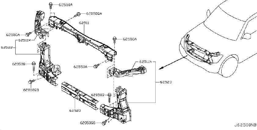INFINITI QX56 Radiator Support Tie Bar Extension (Right