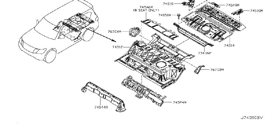INFINITI QX56 Seat Track Reinforcement. CAPTAIN, ROW