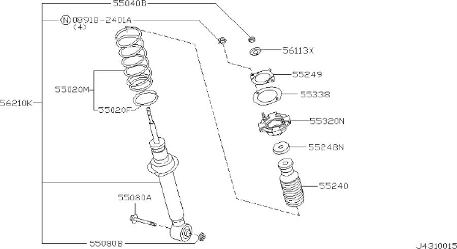 2005 INFINITI Bumper assy-bound, rear suspension. Absorber