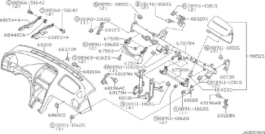 2002 INFINITI I35 Coupe SEDAN SPORT Instrument Panel Air