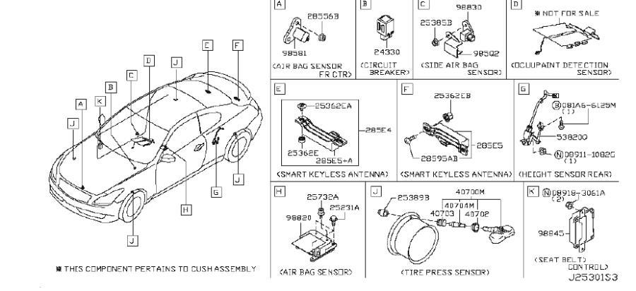 2009 INFINITI G37 Tire Pressure Monitoring System Sensor