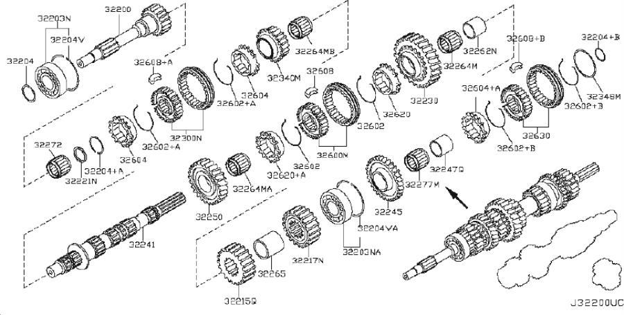 INFINITI Q60 Manual Transmission Countershaft Bearing