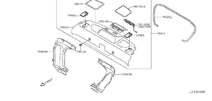 INFINITI Q60 Rear Body Panel Trim Panel (Left). TRIMMING