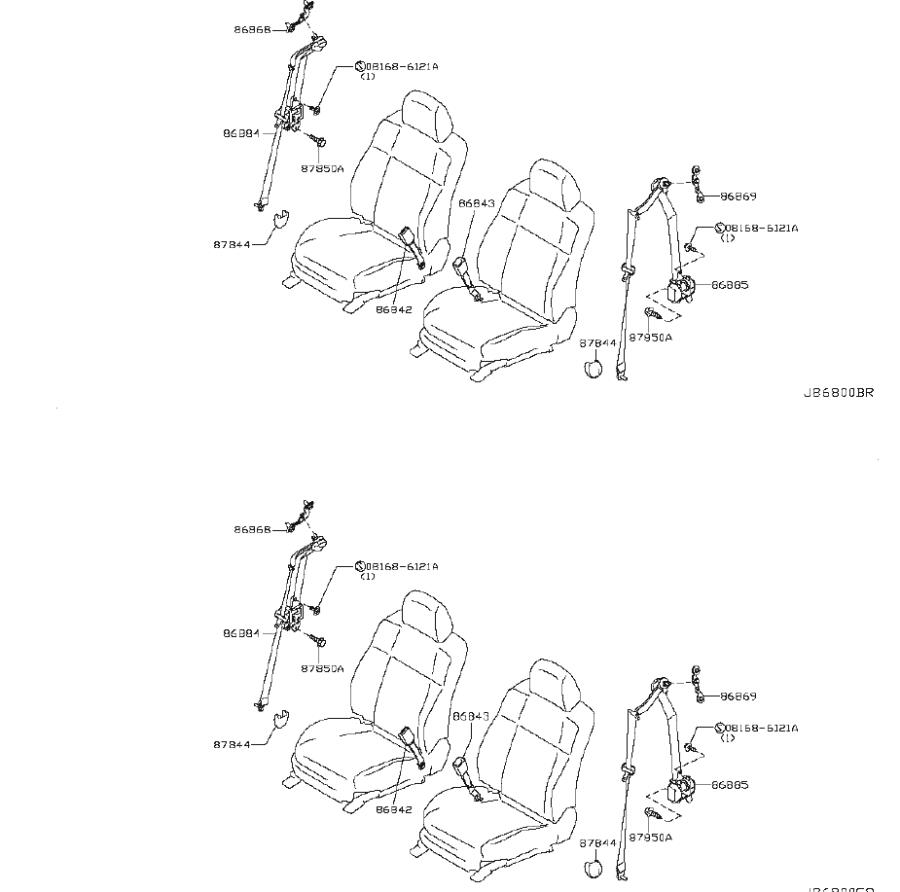 2009 INFINITI G37 Seat Belt Lap and Shoulder Belt Bracket