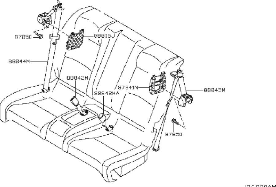 2009 INFINITI G37 Seat Belt Receptacle (Rear). Trim