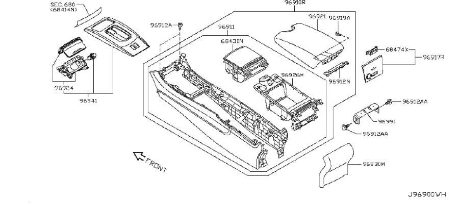 2013 INFINITI G37 Console Bracket (Rear). JOURNEY, CNV