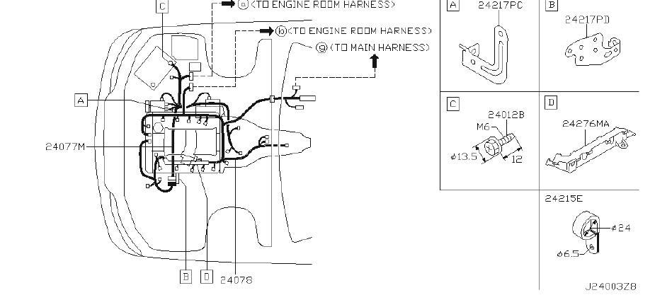 1995 INFINITI Engine Wiring Harness. BODY, MAIN, ROOM