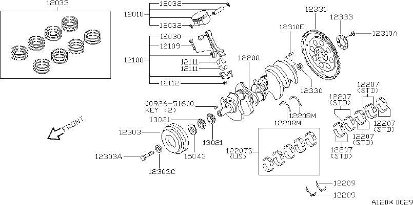 2001 INFINITI I30 Engine Piston Wrist Pin Bushing. SELECT