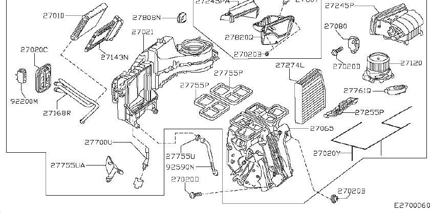 2000 INFINITI Hvac system wiring harness (lower). Heater