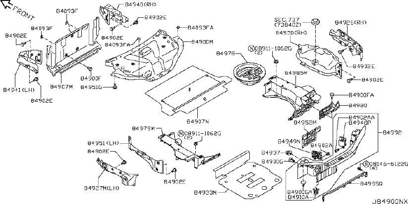 INFINITI G37 Rear Body Panel Trim Panel Cap (Right). TIRE