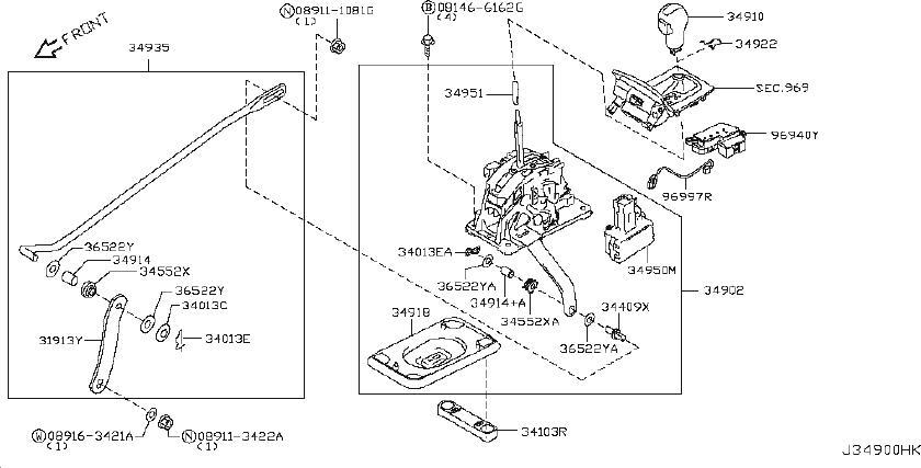 INFINITI FX35 Shift Interlock Solenoid. AWD, JOURNEY