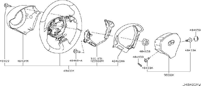 2008 INFINITI EX35 Steering Wheel. JOURNEY, WAG, CNV