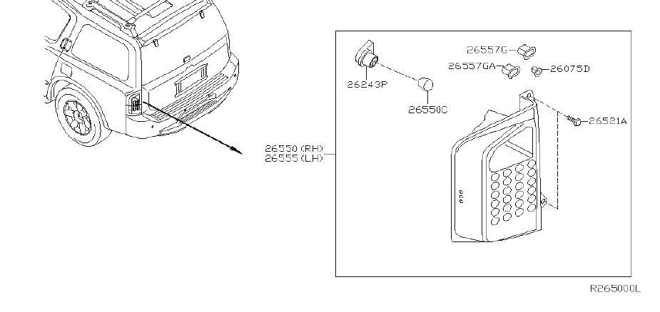 INFINITI QX56 Tail Light (Right, Rear). System, LAMP
