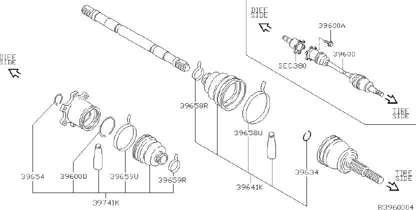 INFINITI QX56 Beam Axle. CV Joint Half Shaft. Drive Shift