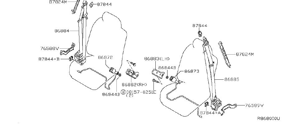 2006 INFINITI QX56 Anchor-seat belt, center pillar lower