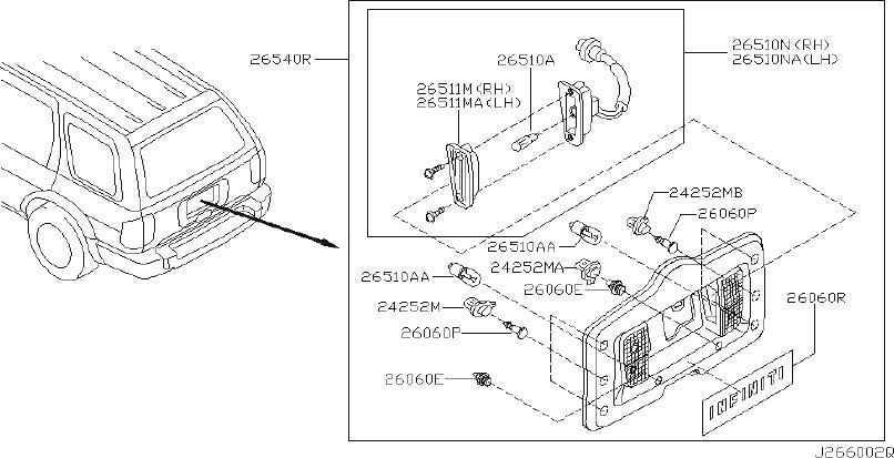 1995 INFINITI Back Up Light Assembly. TIRE, CARRIER
