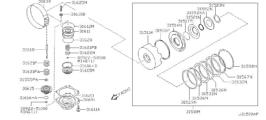 2003 INFINITI Plate Retaining, Forward Clutch. Plate