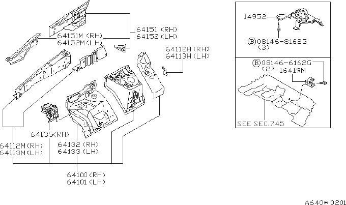 2001 INFINITI G20 Fender Reinforcement Bar (Right). PLUG