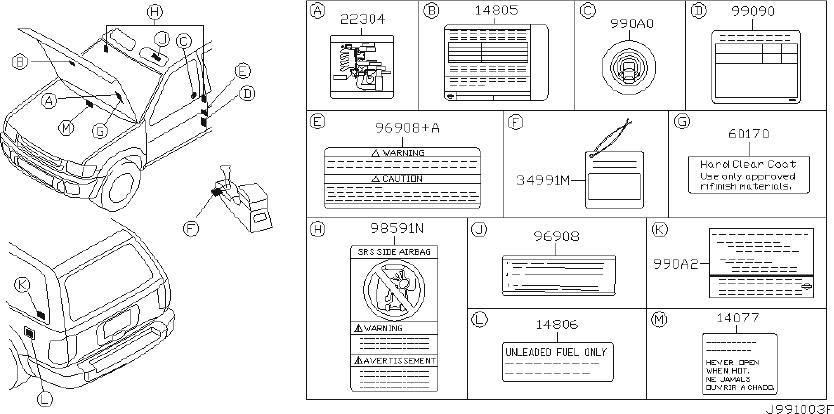 INFINITI QX4 Label Information, Parts Content. Label Parts