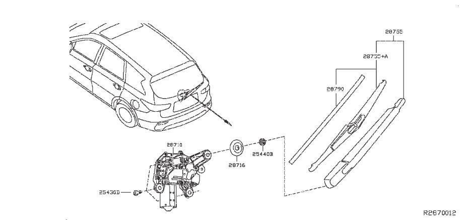 2013 INFINITI QX60 Back Glass Wiper Motor (Rear). WINDOW