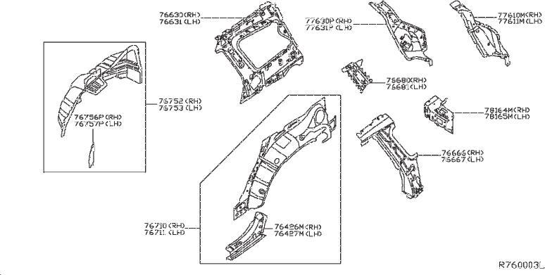 2013 INFINITI QX60 Body B-Pillar Reinforcement (Left