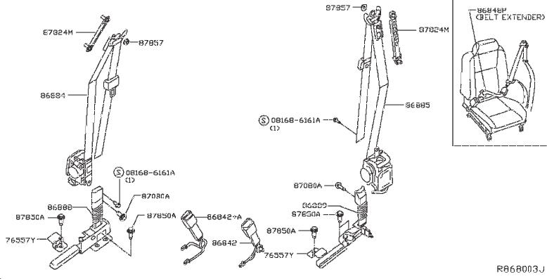 2013 INFINITI JX35 Seat Belt Lap And Shoulder Belt (Left