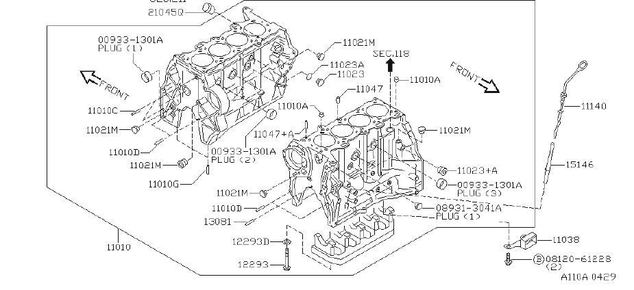 1999 INFINITI G20 Engine Oil Dipstick Tube. FITTING, ASSY