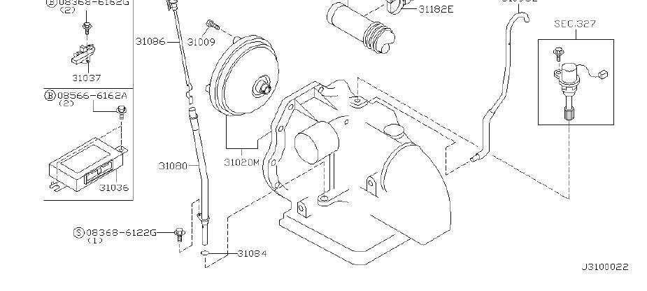2000 INFINITI G20 Automatic Transmission Case Vent