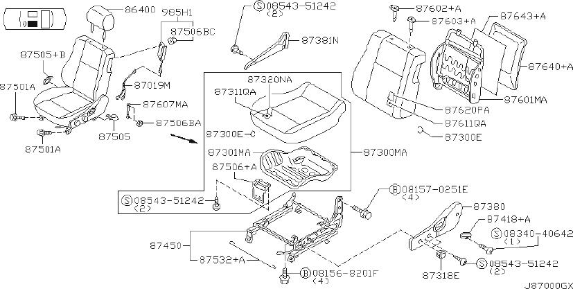 2002 INFINITI Seat Track Support (Front). SIDE, AIRBAG