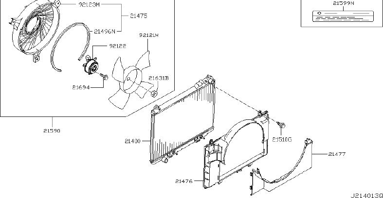 2003 INFINITI A/c condenser fan. Radiator, fitting