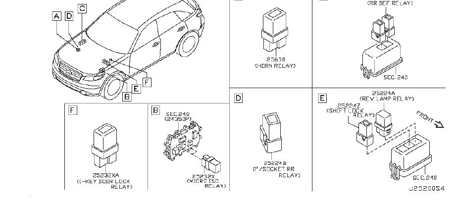 INFINITI FX35 Fuel Pump Relay. ROOM, ENGINE, SWITCHING