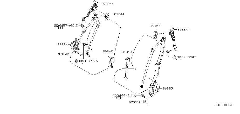 2003 INFINITI Seat Belt Lap and Shoulder Belt (Left, Front