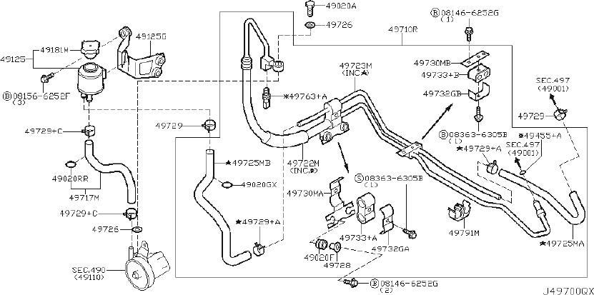 INFINITI G35 Power Steering Pressure Hose. TRACK, IRS