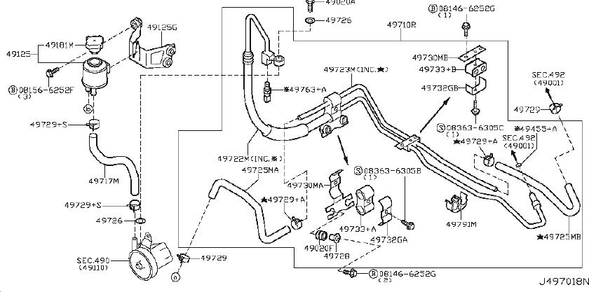 2003 INFINITI Hose and Tube Set Power Steering. COUPE