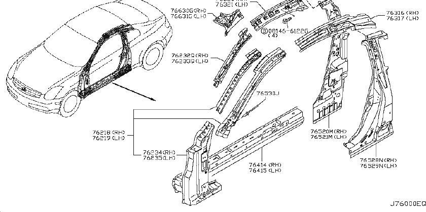 2006 INFINITI Body A-Pillar Reinforcement (Right, Front